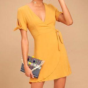 Lulu's Yellow Wrap Dress